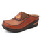 SOCOFY Leather Flower Elastic Splicing Slip-on Mules Clogs Non-slip Flat Sandals - Camel