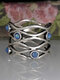 Vintage Trendy Interwoven Hollow Scarf Buckle Blue Opal S925 Alloy Rings - Silver
