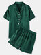 Plus Size Women Faux Silk Pajamas Set Solid Smooth Breathable Lapel Collar Loungewear With Short Sleeve Top - Green