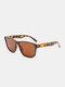 ユニセックスPCフルスクエアフレームHD偏光UV保護アウトドアファッションサングラス - ヒョウ