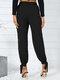 Bolsillo con botones anudado de color liso Largo informal Pantalones para Mujer - Negro
