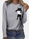 Cat Print Long Sleeves O-neck Casual T-shirt For Women - Gray