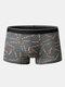 Mens All Over Letter Print Mid Waist Underwear Breathable Boxer Briefs - Dark Gray