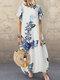 Casual Flowers Print Short Sleeve Plus Size Dress - White