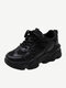 Women Casual Black Lightweight Slip Resistant Lace Up Chunky Sneakers - Black