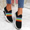 Plus Size Women Rainbow Stripe Knitted Breathable Casual Walking Shoes - Black