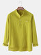 Mens Solid Color Cotton Linen Stand Collar Long Sleeve Henley Shirts With Pocket - Green