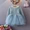 Baby Girls Long Sleeves O-neck Tulle Patchwork Dress For 3-18M - Blue