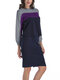 Two Pieces Patchwork Long Sleeve Sweater Pencil Skirt - Purple