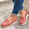 Large Size Women Casual Round Toe Stitching Non Slip Wedges Loafers - Pink