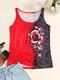 Camiseta sin mangas con cuello redondo y estampado de rosas para Mujer - rojo