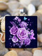 Vintage Square Glass Printed Women Necklaces Rose Flower Pendant Necklace Jewelry - #02