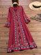 エスニックプリントハーフスリーブAラインエレガントPlusサイズのドレス - 赤
