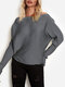 Solid Color Striped One-shoulder Long Sleeve Casual Sweater for Women - Gray