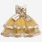 Girl's 3D Flower Decorated Double-layers Tulle Princess Dress for 3-11Y - Yellow