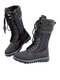 Women Solid Color Splicing Knitted Fabric Side Zipper Slip Resistant Warm Mid-calf Boots - Black
