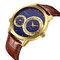 CRRJU reloj para hombre dos movimientos reloj de pulsera militar cuero cuarzo negocios relojes de lujo - Oro + azul