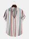 Mens Stripe Print Short Sleeve Lapel Regular Hem Preppy Shirt - White