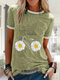 Daisy Floral Bike Letter Printed Short Sleeve Casual T-shirt - Green