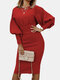 Solid Color Lantern Sleeves O-neck Casual Dress For Women - Red