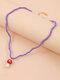 Bohemian Beads Mushroom Colgante Collar Collar de cuentas de temperamento - púrpura