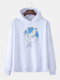Mens Cotton Whale Pattern Chest Print Loose Pullover Hoodie - White