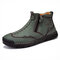 Men Double Side Zipper Hand Stitching Microfiber Leather Ankle Boots - Green