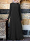 Casual Solid Color Button Long Sleeve Plus Size Maxi Dress - Black