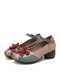 SOCOFY Ethnic Flowers Decor Genuine Leather Non Slip Buckle Strap Chunky Heel Comfy Pumps - Brown