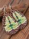 Ethnic Drop-Shaped Women Earrings Christmas Tree Dragonfly Leopard Pendant Earrings - Brown