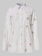 Floral Print Button Lapel Long Sleeve Casual Shirt For Women - White