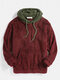 Mens Patchwork Casual Fleece Loose Pouch Pocket Teddy Hoodie - Wine Red