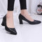 Faux Alligator Patent Leather Chunky Heel Pumps - Black