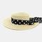 Women Flat Hat Outdoor Travel Jazz Straw Hat Sun Protection Sun Hat Beach Hat - Beige