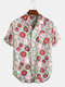 Mens Abstract Growth Ring Print Chest Pocket Short Sleeve Shirts - White
