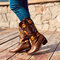 Women's Large Size Sunflowers Embroidered Chunky Heel Pointed Toe Mid-Calf Cowboy Boots - Dark brown