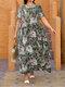 Leaves Flower Print O-neck Short Sleeve Loose Vintage Maxi Dress - Gray