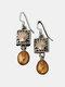 Vintage Pearl Women Earrings Hollow Vine Shell Pendant Earrings Jewelry Gift - Silver