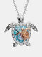 Luxury Alloy Diamonds Ocean Turtle-shape Necklace - Gold