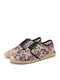SOCOFY Floral Printed Linen Cloth Comfy Breathable Wearable Lace Up Casual Espadrille Shoes - Purple