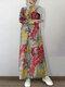 Vintage Maple Forest Print Plus Size Maxi Dress - Yellow