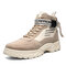 Men Street Fashion Warm Lining Slip Resistant Outdoor Tooling Boots - Beige