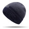 Mens Thick Wool Velvet Knitted Hat Warm Winter Windproof Outdoor Casual Snow Beanie - Navy Blue