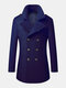 Mens Woolen Double Breasted Lapel Collar British Style Overcoats - Navy