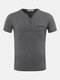 Mens Odell Cotton Solid Color Buttons Short Sleeve V-neck Casual T-shirt