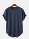 Mens Basic Solid Color Casual Breathable & Thin O-Neck T-Shirts - Navy Blue