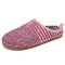 SOCOFY Solid Color Striped Household Cotton Slip On Indoor Flat Home Shoes Slippers - Pink