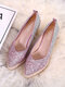 Women Casual Ombre Sequined Slip-On Pointed Toe Wedges Heel Espadrille Loafers Shoes - Pink