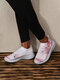Large Size Women Running Heart Printing Knitted White Shoes Sneakers - Pink