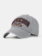 Men Cotton Letter Embroidery Sunshade Outdoor Casual Baseball Hat - Gray